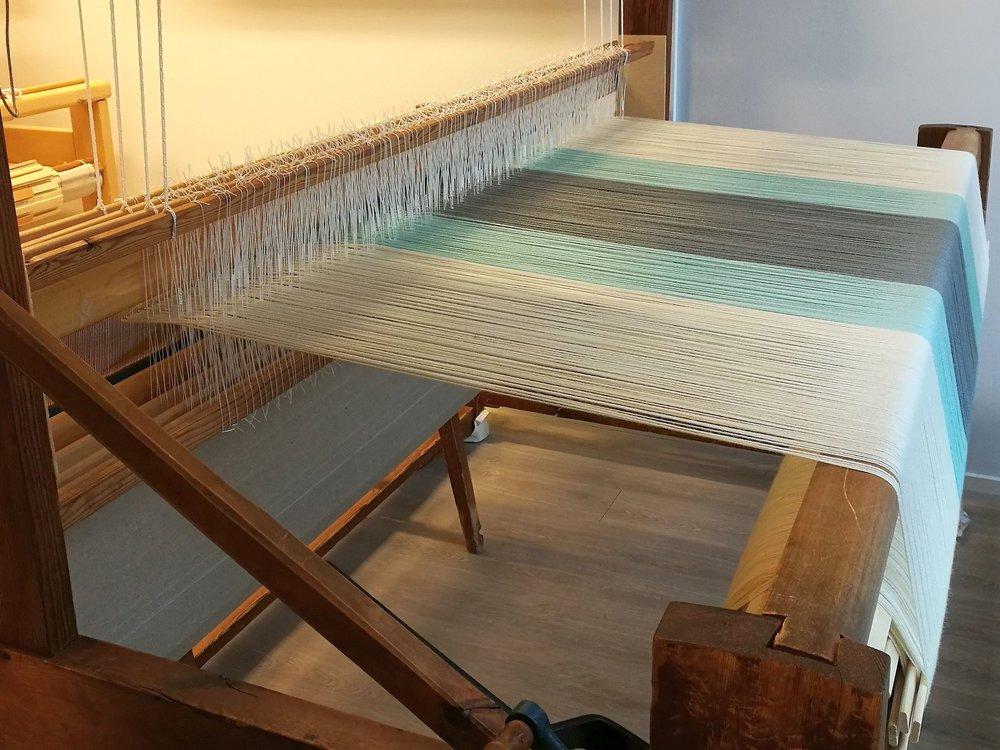 Wool blanket on the loom