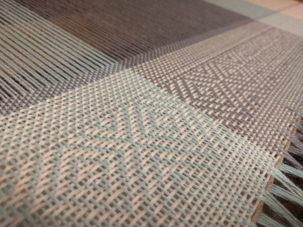 The sample shows twill weave framed by plain weave pattern.