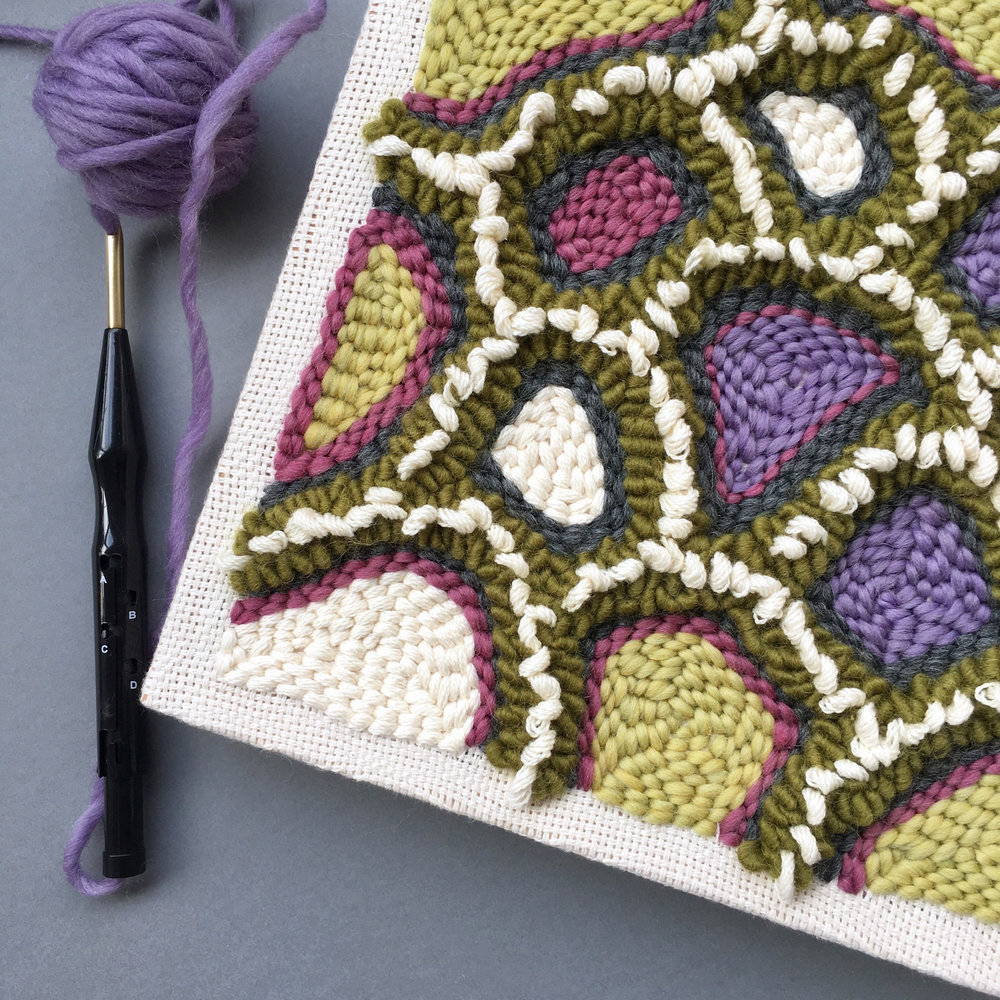 During the course you will be making a punch needle project on a square frame.