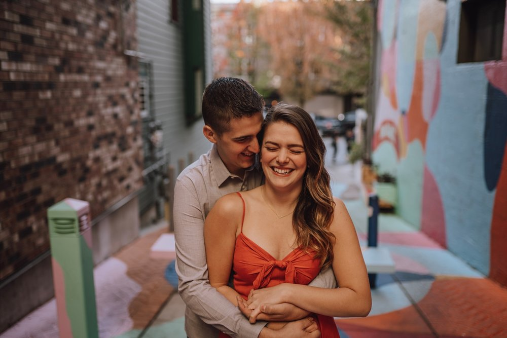 north vancouver fun alley engagement photos
