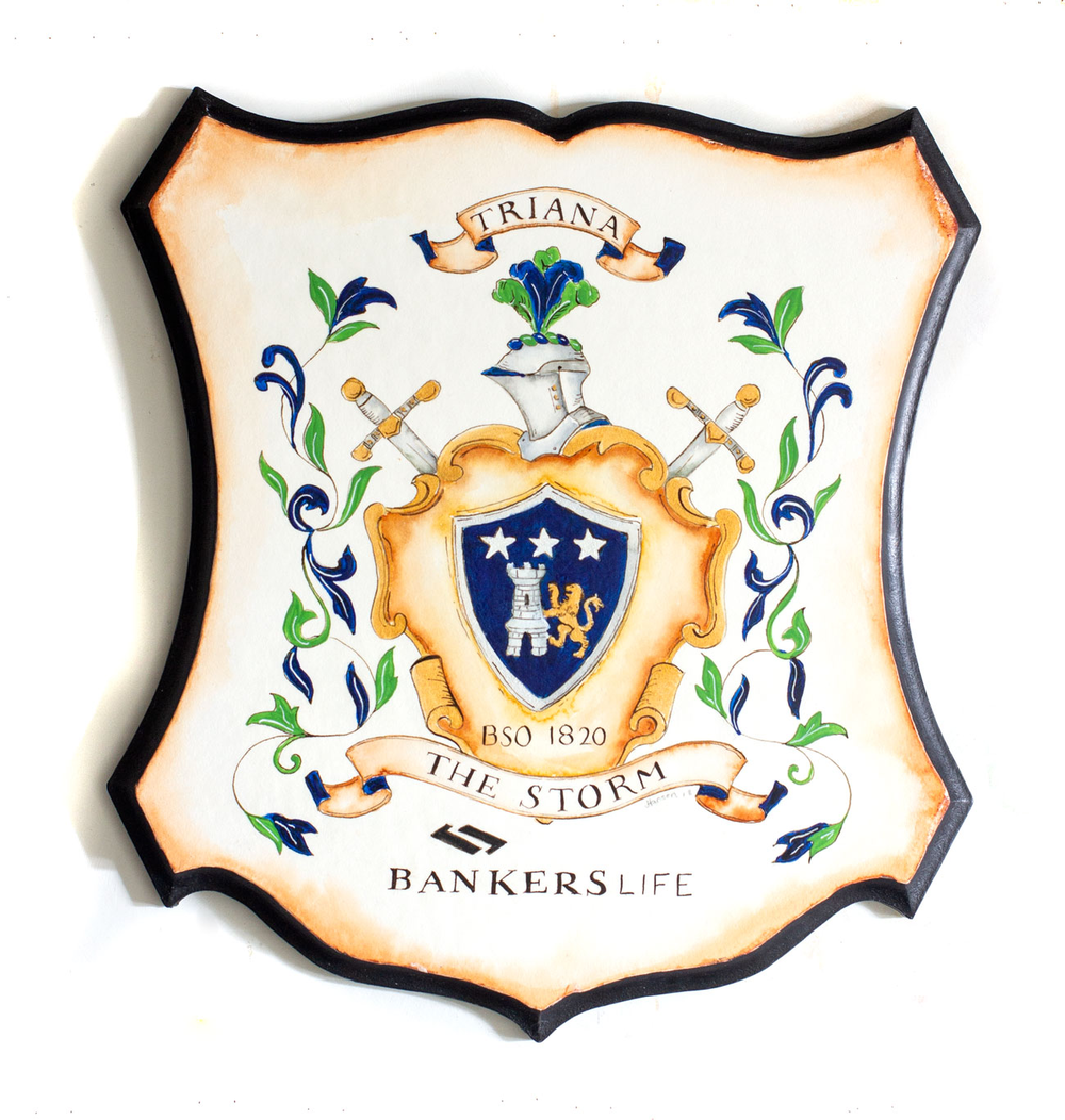 Watercolor on wood - custom wood shield