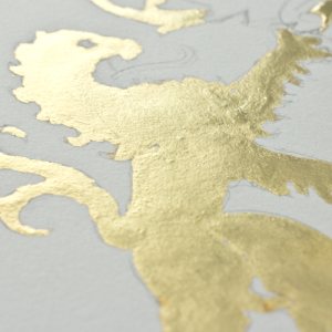 Detail of yellow gold over Miniatum ink on arches hot press watercolor paper