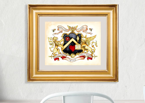 Hand painted family crest