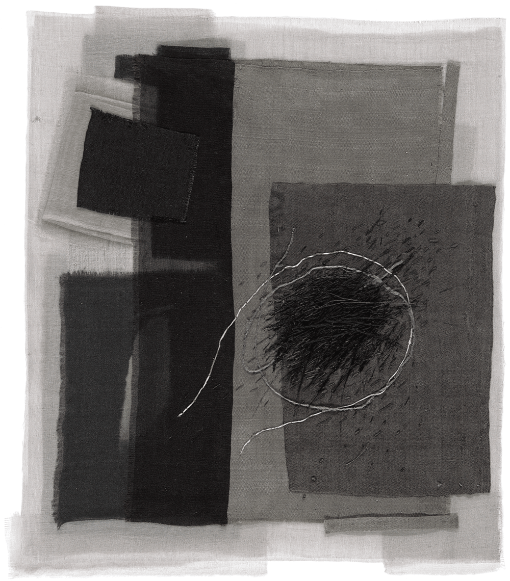 "Michael Olszewski, An Attempt, Silk, linen, hand stitching and appliqué, 23.25"" x 20.25"" (framed), 2013"