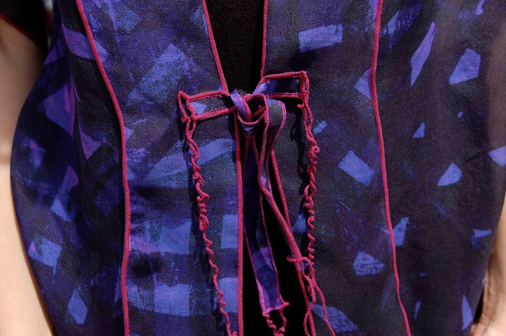 Silk organza Faux Kimono with serged edges