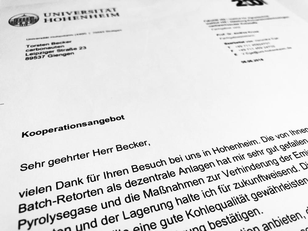 Das Angebot zur Kooperation von Frau Prof. Dr. Kruse, Leiterin des Instituts für Agrartechnologie der Universität Hohenheim