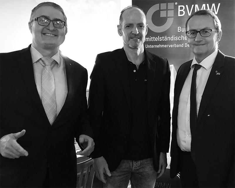 BVMW-Beauftragter Michael Heilig, Carbonaut Torsten Becker, Geschäftsvermittler Benny Sörensen