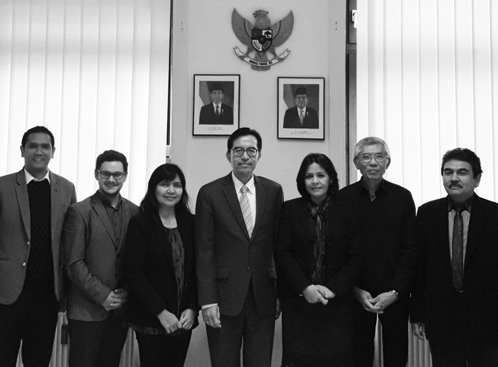 From left: Deputy Consul Dimas Wisudawan, Carbonaut Michael Sernatinger, Consul Risa W.S. Wardhani, Consul General Toferry Primanda Soetikno, Manjeet, Husni Suwandhi, Minister Counselor Abdul Mun'im