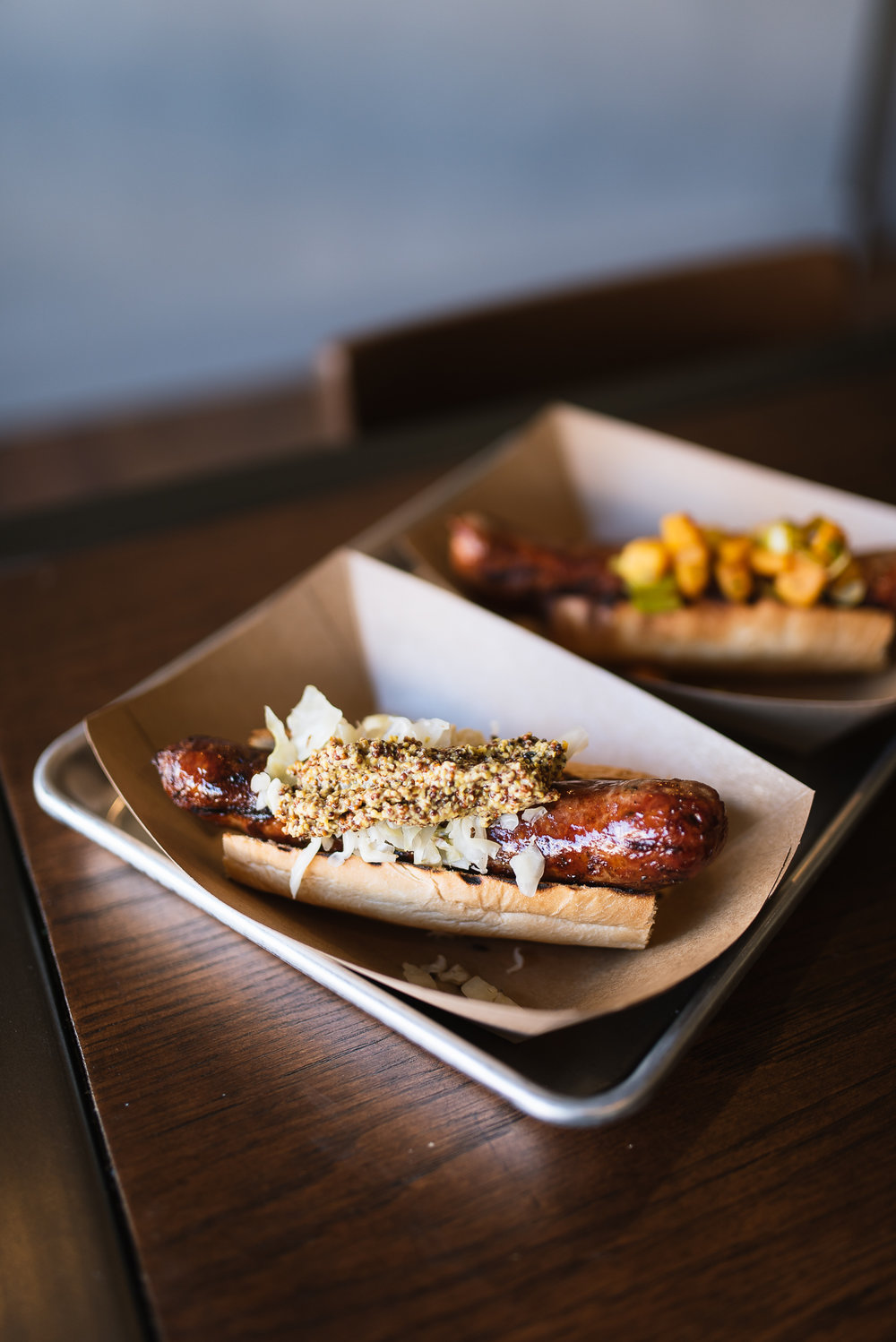 Beer brat - sauerkraut, coarse ground mustard