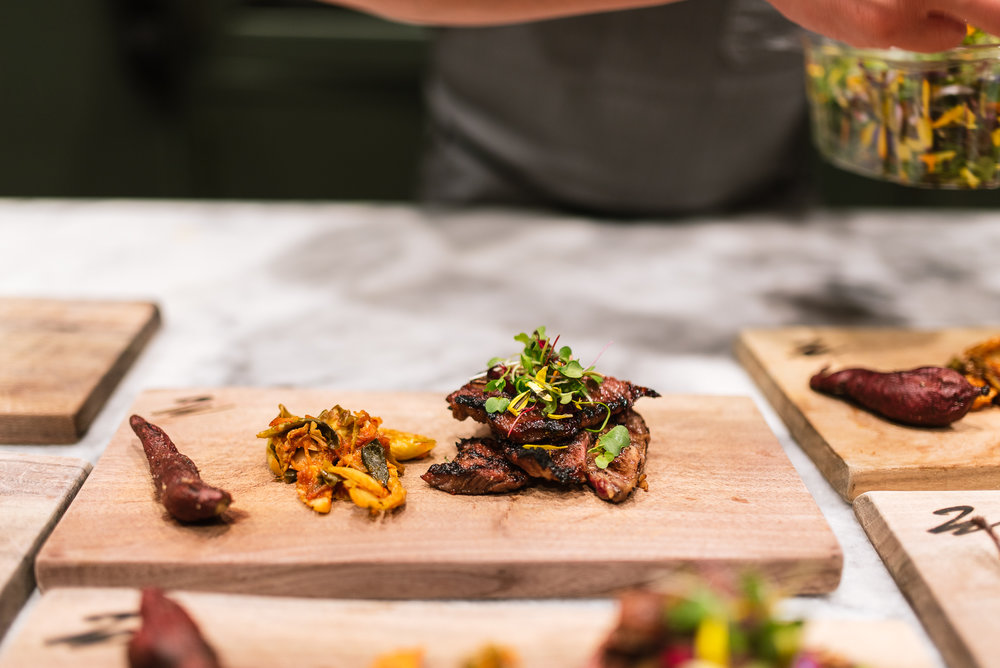 Galbi - marinated short ribs, kimchi brussels