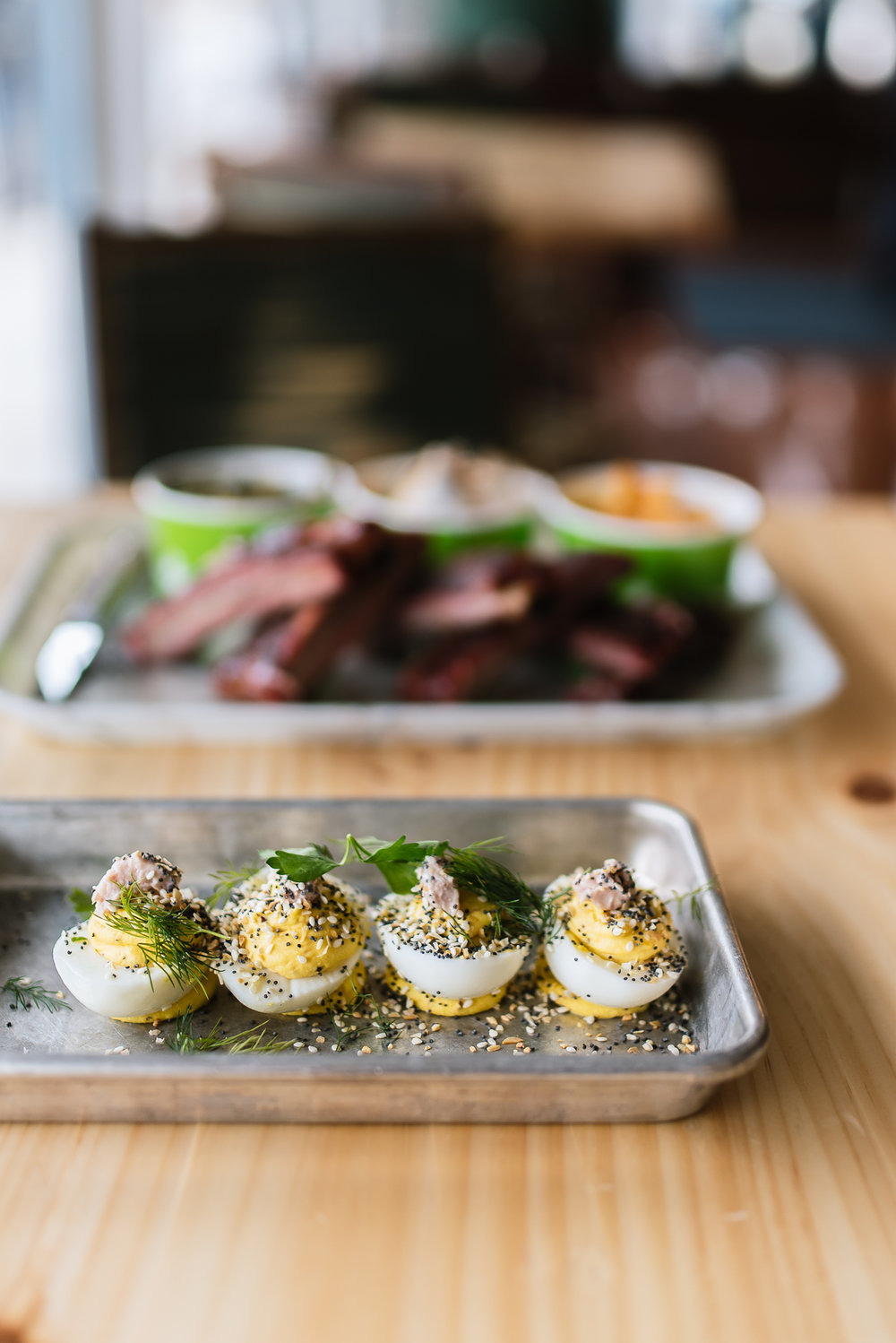 Deviled eggs - country ham, everything spice, herbs