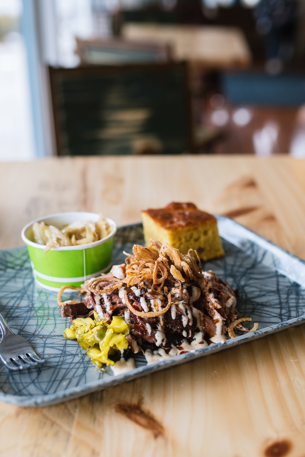Pulled pork - whiskey sauce, Alabama white BBQ sauce, crispy shallots