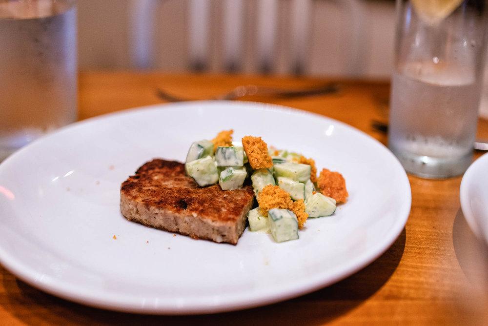 Scrapple - cucumber, ranch, cornbread croutons