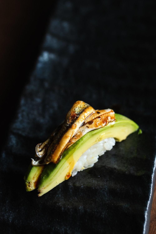 Boquerones & avocado nigiri -