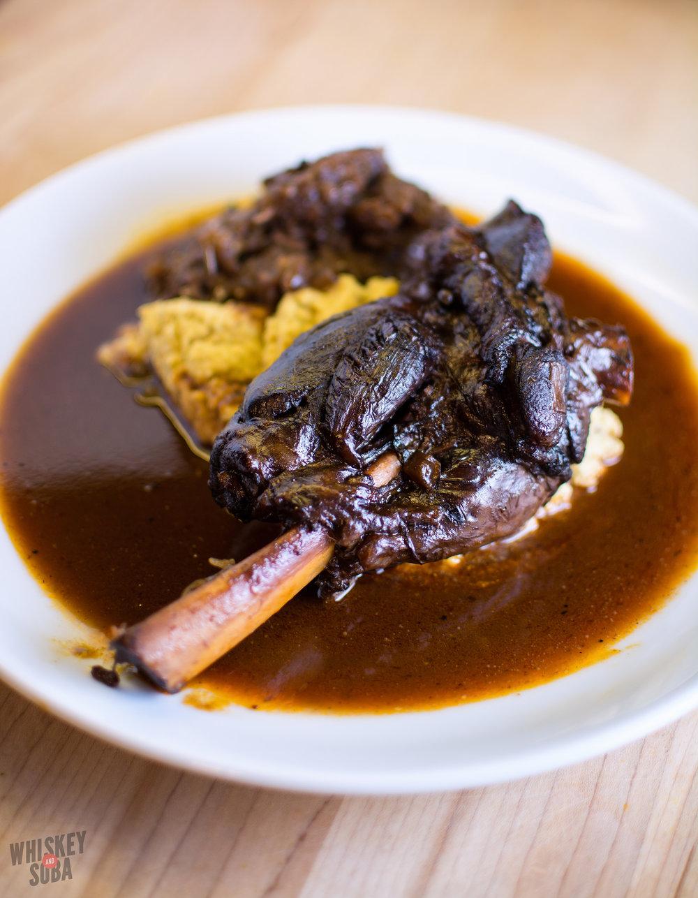 Cabarnet-Chipotle braised lamb -