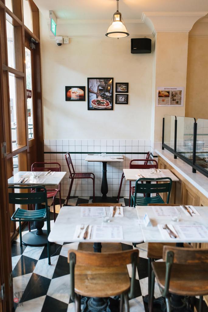 Tables at Motorino Singapore