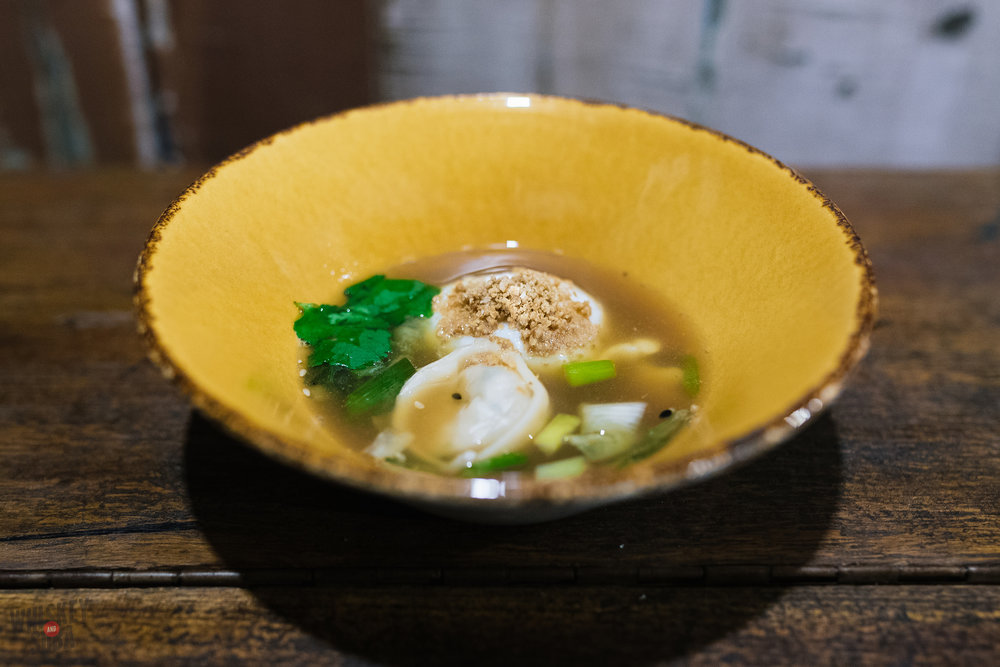 dumpling soup with chicken skin by ben grupe