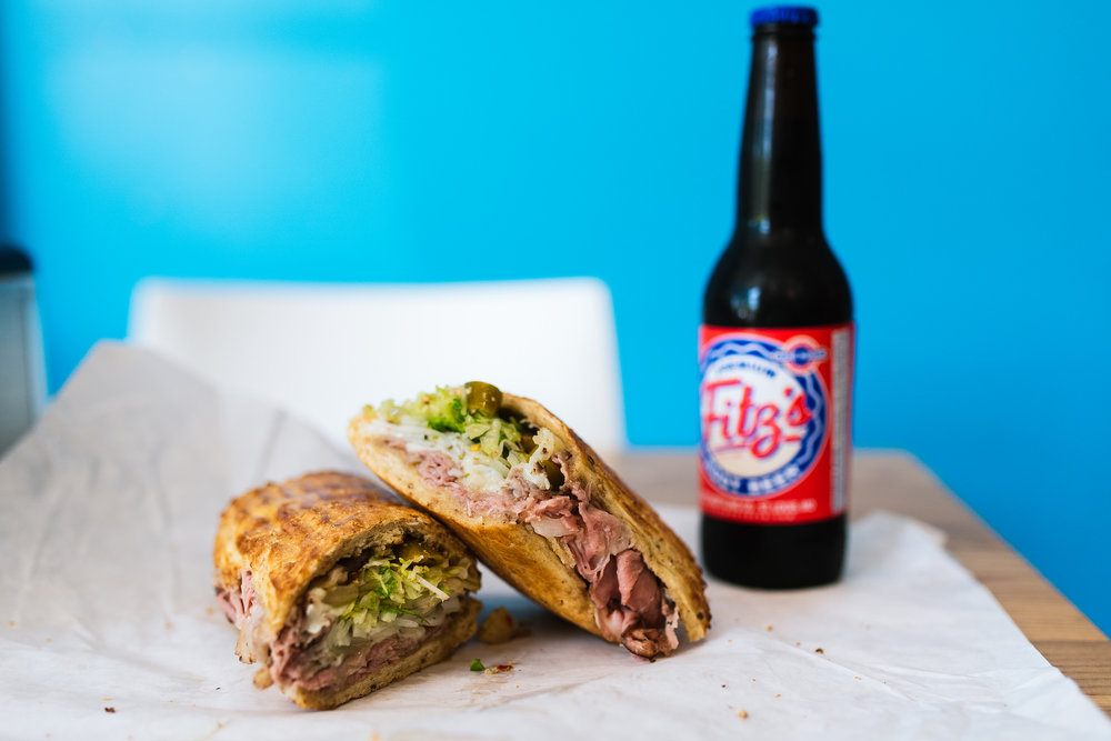 Snarf's prime rib sandwich and Fitz's root beer