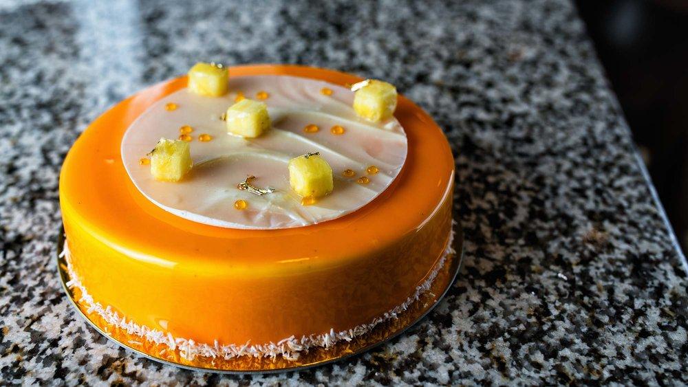 polynesia - coconut mousse, mango and banana cream, moist almond cake