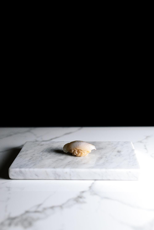 Hirame - shiso, ume, lime, shiro nikiri