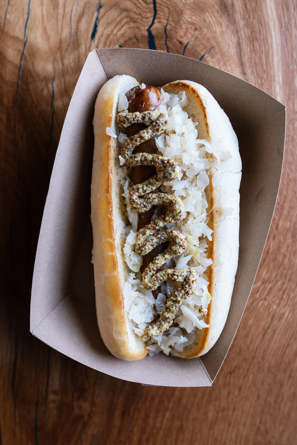 Beer brat - sauerkraut, whole grain mustard