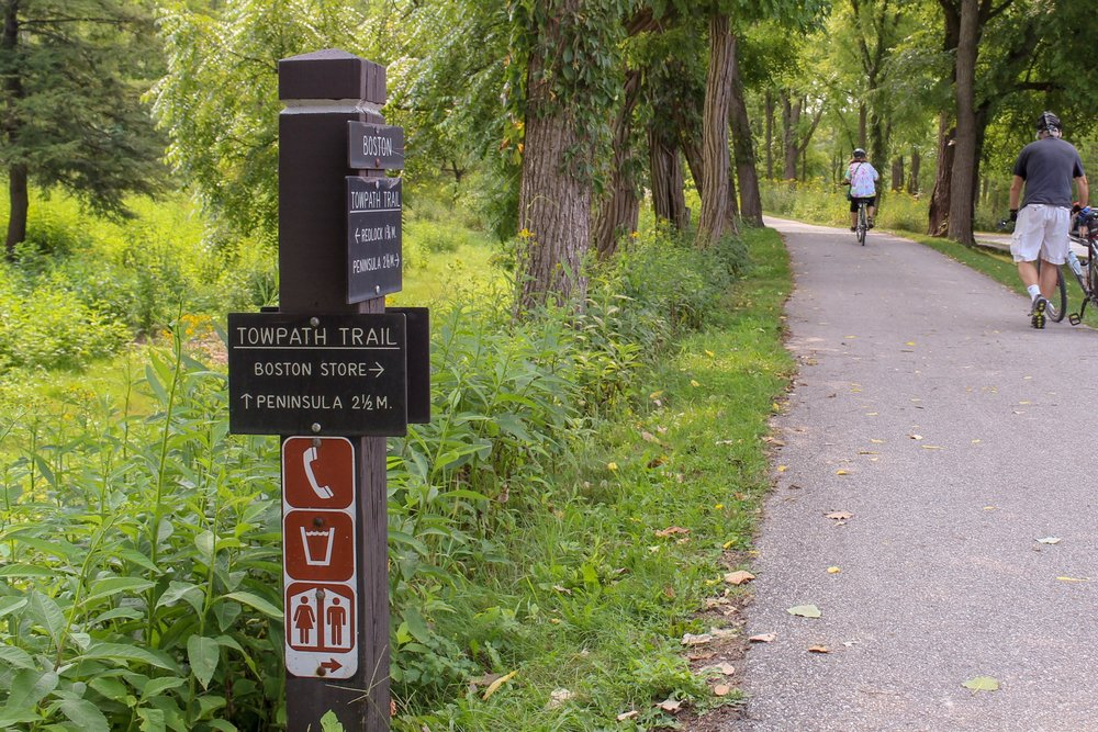 Trail markers on the towpath provide directions to all amenities.