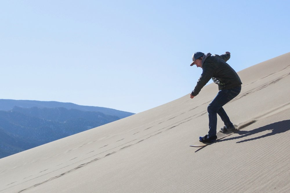 Sandboarding in Great Sand Dunes National Park