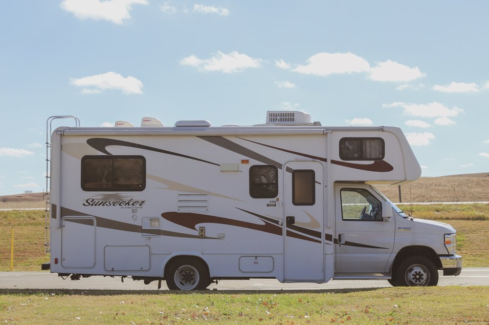 Our home on wheels at a rest stop somewhere in Kansas!