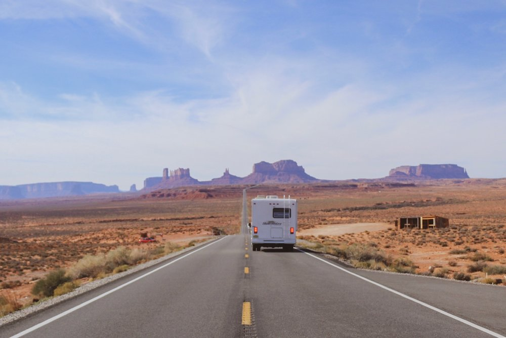 Driving our RV through Monument Valley!