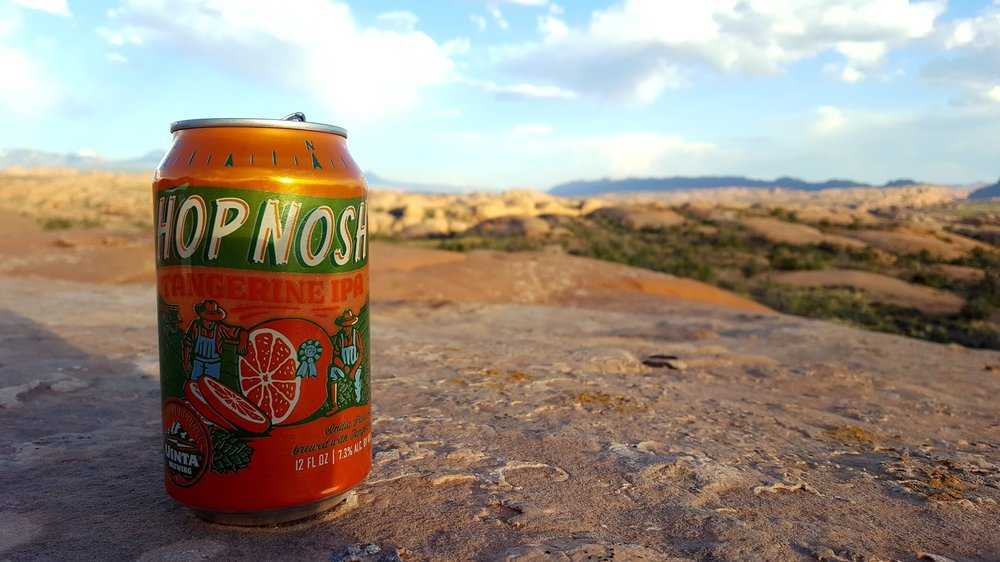 Enjoying uinta Brewing Company's hop Nosh in Arches national park.