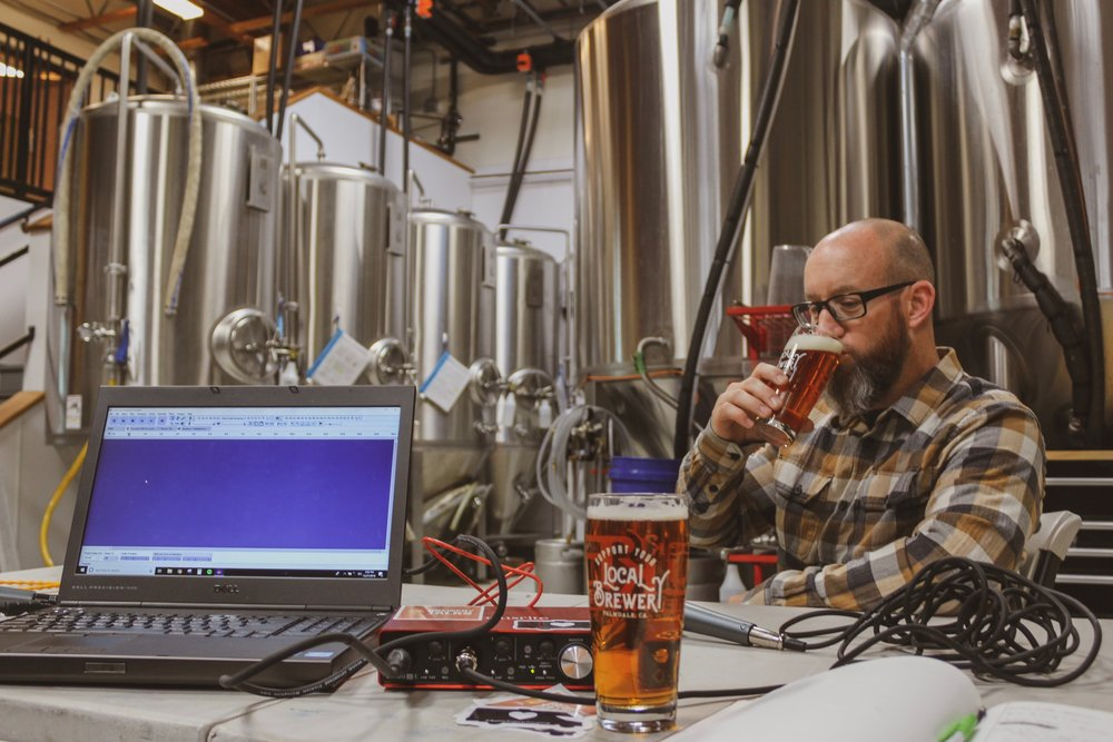 Owner and Head Brewer, Brian Schmitz, enjoying a beer in the middle of the brewery as we setup to record the podcast!