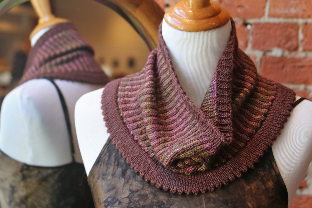 The Vertical Stripe Cowl taught in the six hour workshop