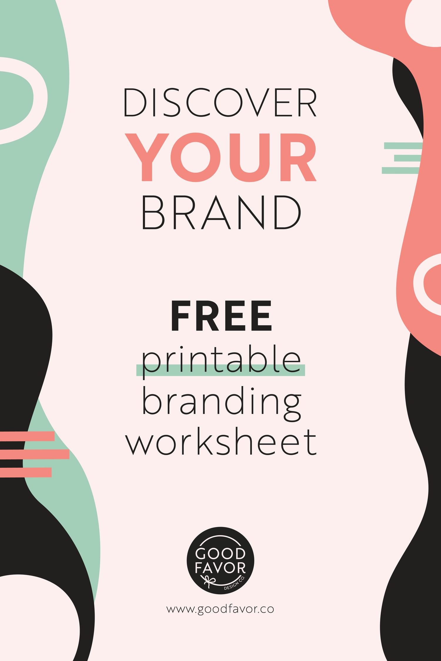 Free Printable Branding Worksheet Good Favor Co