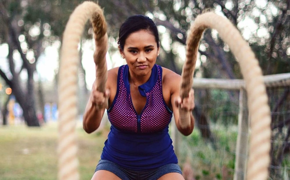 woman having an intense work out