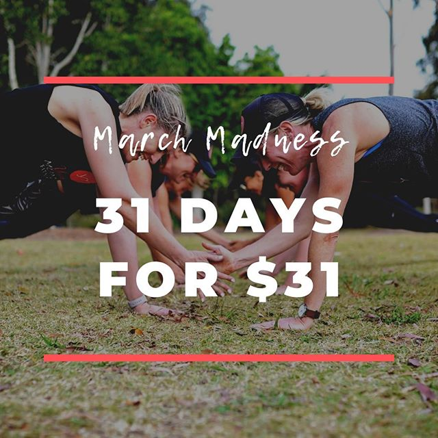 MARCH MADNESS! 31 DAYS FOR ONLY $31! Do not miss this special offer, giving you huge savings. Train with us for the entire month of March for only $31 (valued at $180). There's strictly limited spots, so head to @ymf_uppercoomera or @ymf_reedycreek to claim your spot.⠀ ⠀ #yummymummyfitness #goldcoastmums #goldcoastfitness #goldcoastbootcamp #mummyfitness #mumfitness #fitmums #fitmummy #fitmumma #mumswhoworkout #mumswhotrain #strongmum #postnatalfitness #postnatalexercise #postnatal #postpartumbody #mumsandbubsfitness #postbabybod #postbabyweightloss #healthymummy #marchmadness