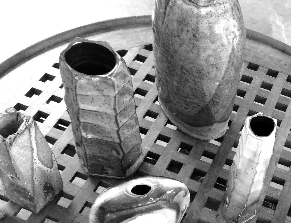 Jim Wayne:  Japanese inspired American Ceramicist – Saggar fired vases for the Tea Room.