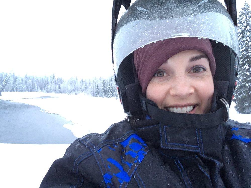 On a snowmobile in Suncadia, WA.