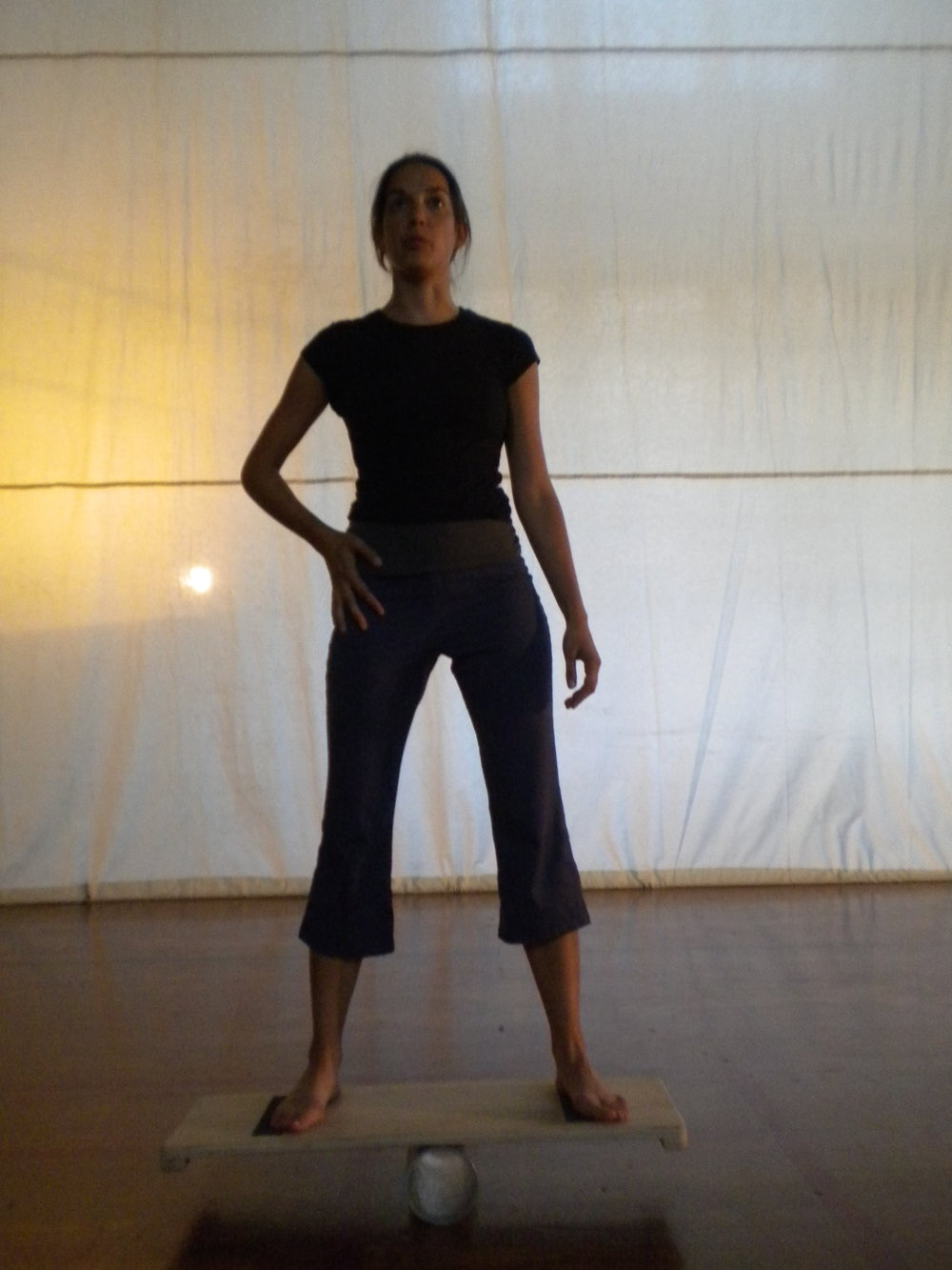 """Performing excerpt from Samuel Beckett's novel """"Molloy"""" while balancing"""