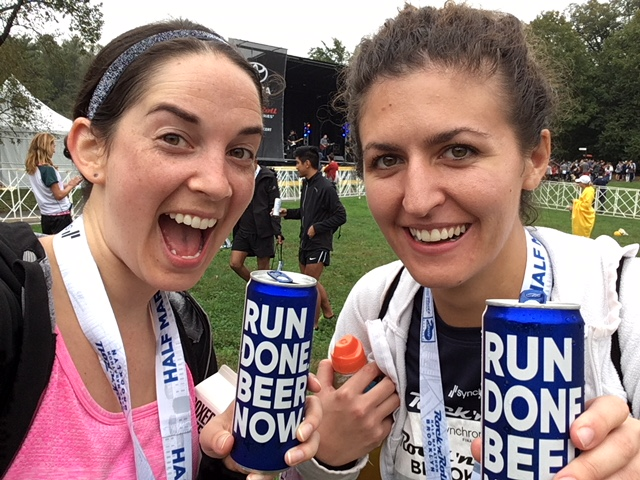 Another Half Marathon in the books! Celebrating with Kayla and free beer.
