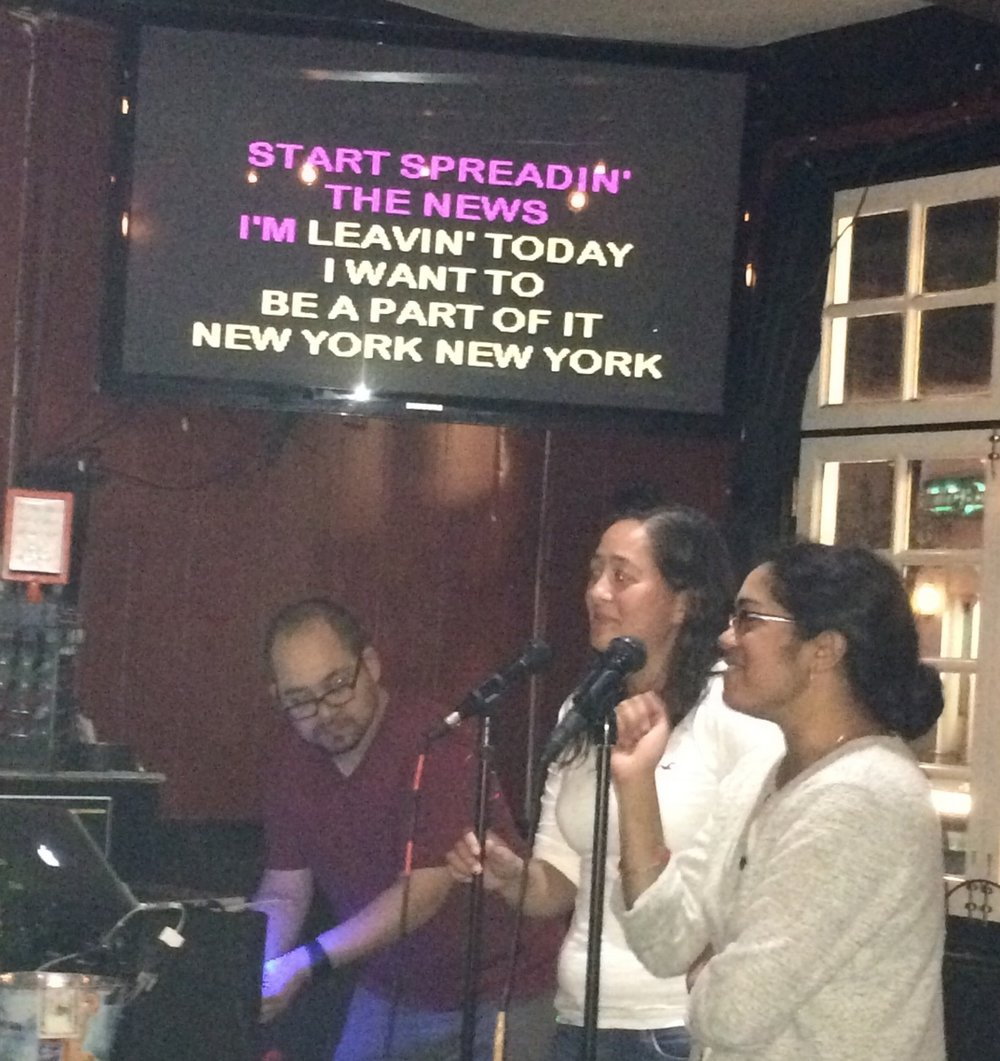 What AWESOME friends (who don't particularly do karaoke) do at karaoke when they find out you're moving to New York: sing Ol' Blue Eyes to me.  Love you, Laura and Rose!!!