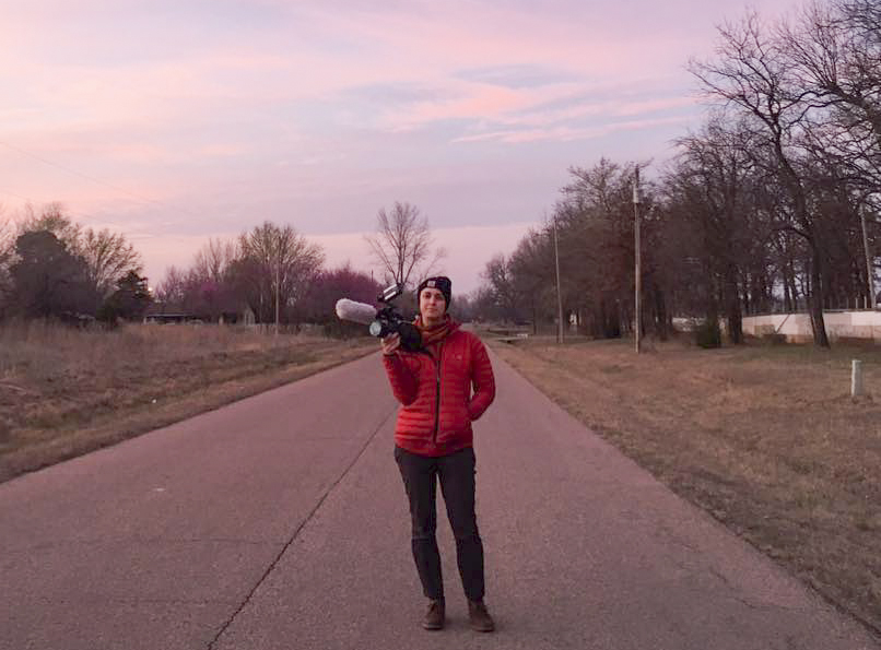 On location during the craziest sunset of my life in McLoud, OK.