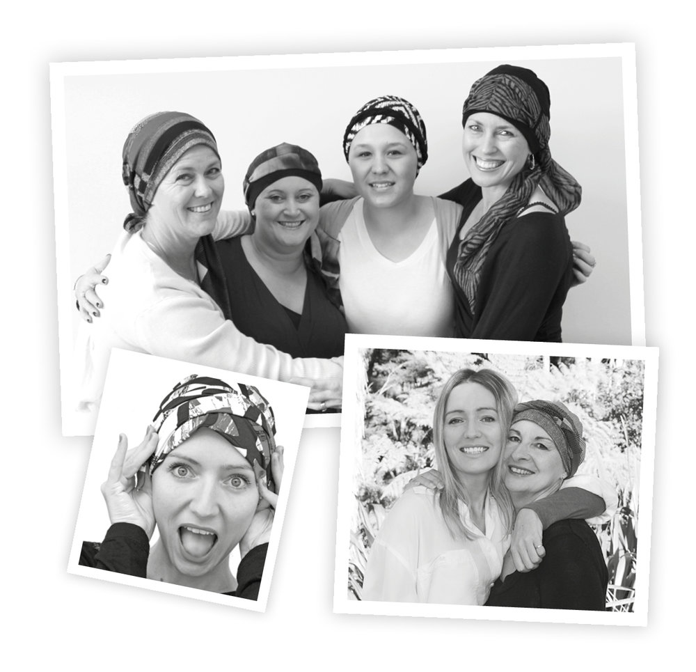Kerrin Osborne and happy customers who've purchased Kaus cancer hats