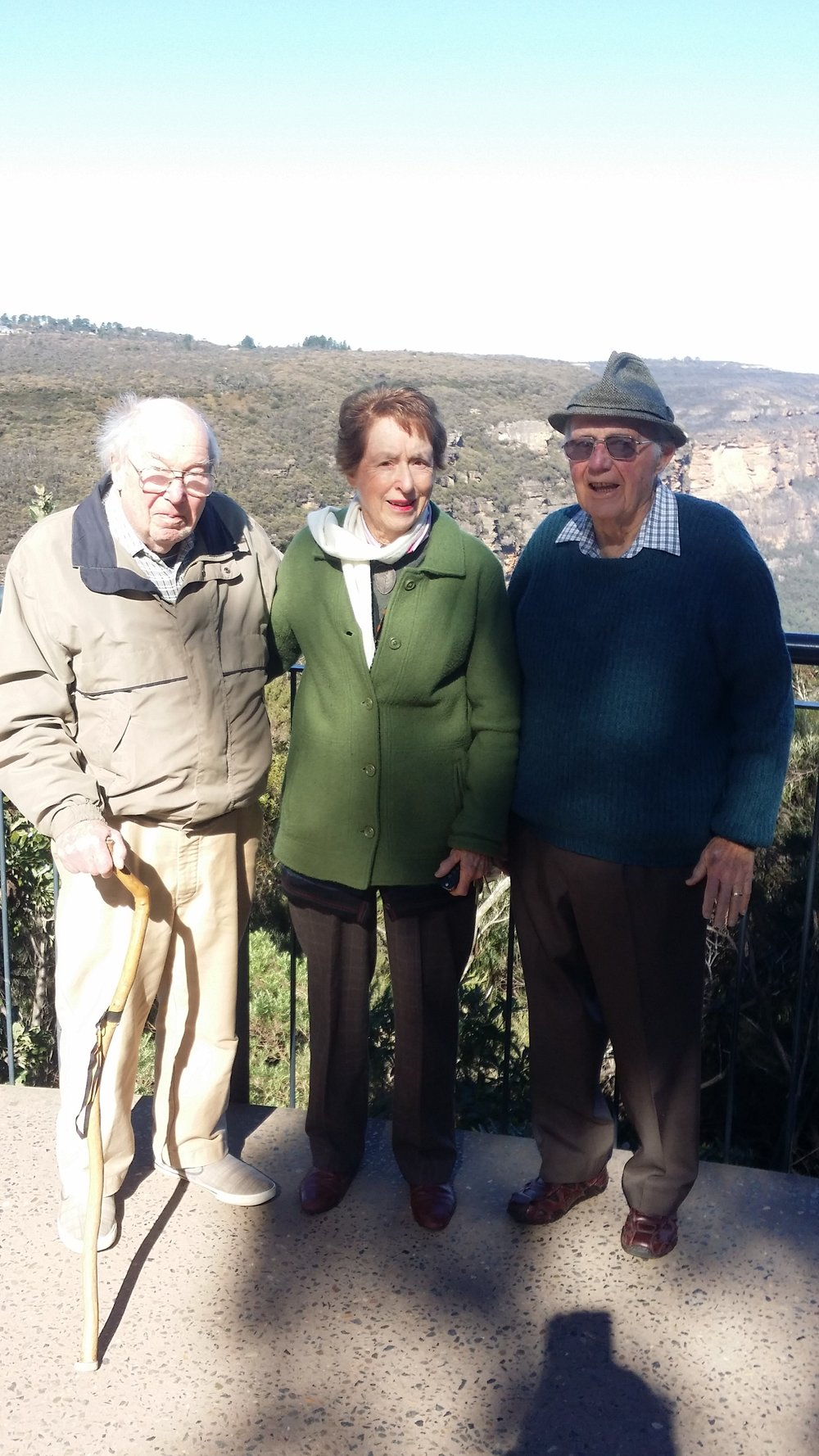 Fr Eugene Stockton, Peggy Goldsmith and the late Jim Tulip. Blue Mountains July 2017