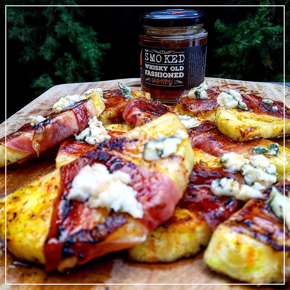 Grilled Pineapple prosciutto blue cheese Smoked Honey copy.jpg