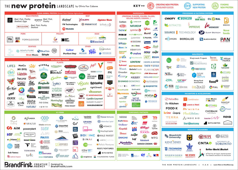 The New Protein Landscape, v.2.6 - Gathering all players in the alternative protein industry:- Manufacturers of consumer products (CPG) based on plants, algae, fungi and cellular agriculture- Ingredient suppliers of fragrances, flavors, fillers, etc.- Technology and processing partners- Incubators and accelerators- Nonprofits, research and academia- VC funds and corporate venture partners