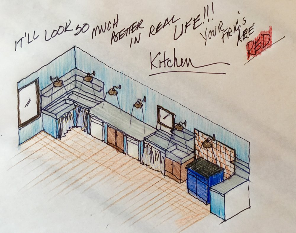 Quick drawing of the Fortress' Main Apt.'s kitchen would be like at the Fortress…