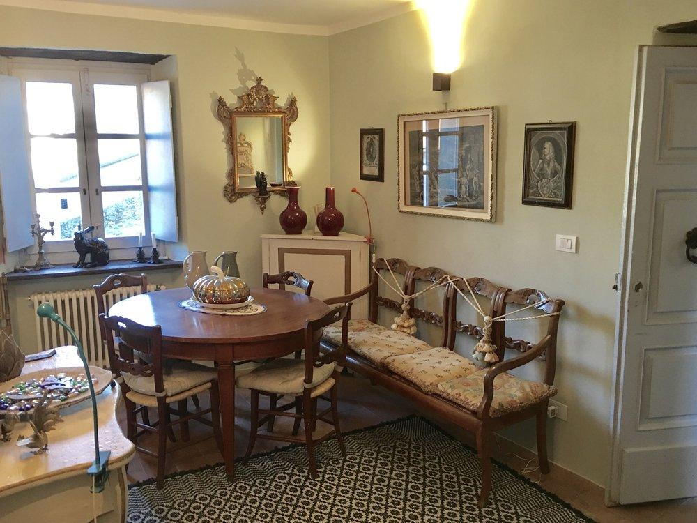 Dining Room on the Entry Floor of La Casetta al Ponte.
