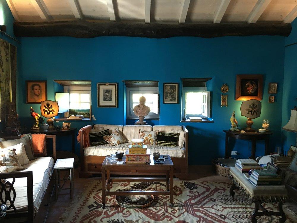 The Salotto of La Casa Grande and is decidedly blue!