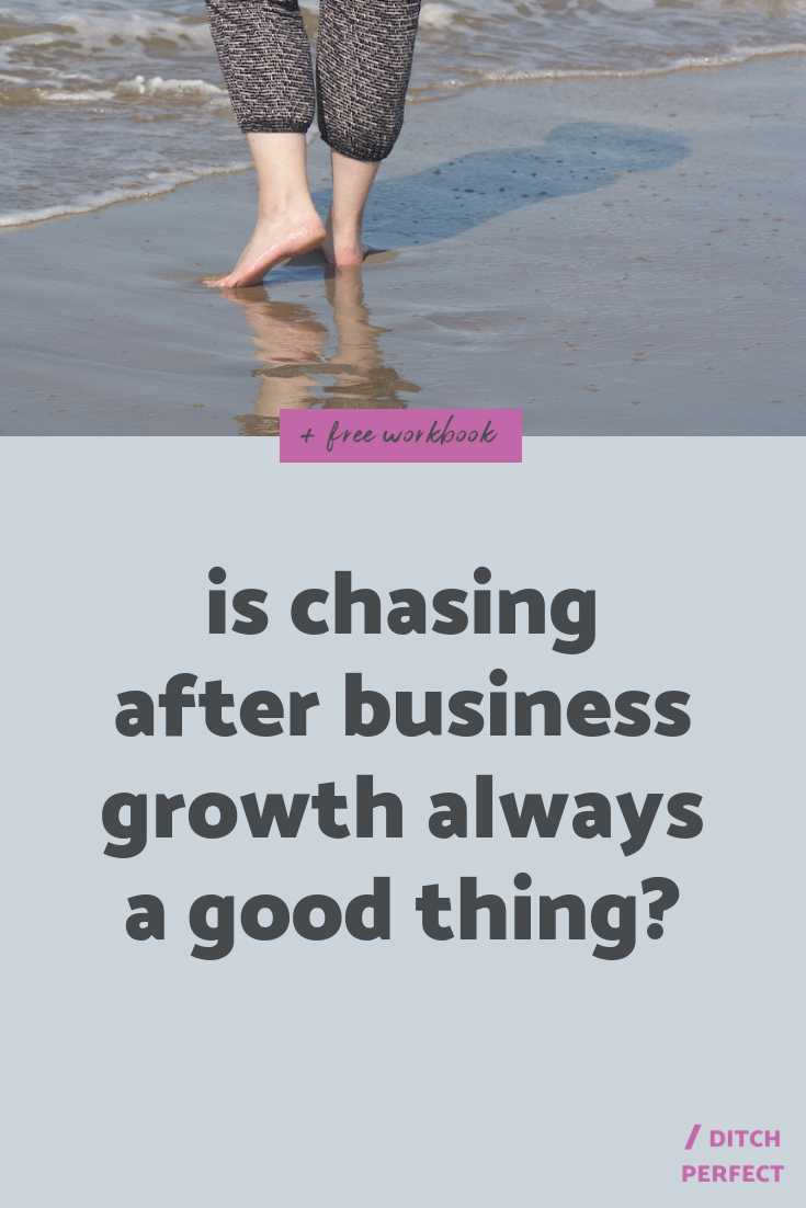 Progress over perfection, we've all heard that phrase and I definitely can get behind it. But here's the thing, instead of masking the failure of reaching your goals with a catchy phrase, why don't you question what 'growth' should look like for your creative business? Click through for my thoughts on chasing business growth + creating your own definition of success. #onlinecreatives #creativeentrepreneur
