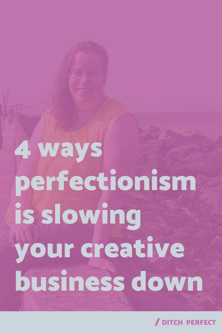You know perfectionism is bad for you, but overcoming perfectionism scares you a little. That's because you don't realize how much it's slowing you + your creative work down. Click through to find out more about these 4 mindset blocks + limiting beliefs, so that perfectionism no longer has to slow your creative business down. Also, be sure to grab your free workbook! #onlinecreatives #recoveringperfectionist